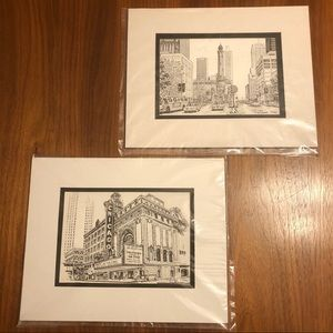 Pair Chicago Architecture Prints by Diana Weber